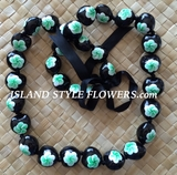 HAWAIIAN KUKUI NUT FLOWER LEI NECKLACE-Handpainted Plumeria Green