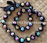 HAWAIIAN KUKUI NUT FLOWER LEI NECKLACE- Plumeria Multicolored