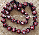 HAWAIIAN KUKUI NUT FLOWER LEI NECKLACE-Handpainted Hibiscus -Red Hibiscus with White Center