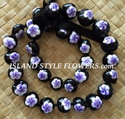 HAWAIIAN KUKUI NUT FLOWER LEI NECKLACE-Handpainted Plumeria Purple