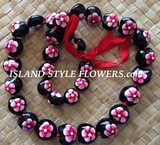 HAWAIIAN KUKUI NUT FLOWER LEI NECKLACE-Handpainted Plumeria Red