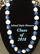 Hawaiian Kukui Nut Graduation Le i- Class of 2018 - Solid Blue/White
