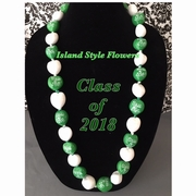 Hawaiian Kukui Nut Graduation Lei- Class of 2018 - Solid Green/White