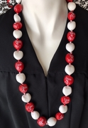 Hawaiian Kukui Nut Graduation Lei- Class of 2017 - Solid Red/White