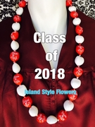 Hawaiian Kukui Nut Graduation Le i- Class of 2018 - Solid Red/White