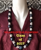 Hawaiian Kukui Nut Graduation Lei-Black with White Mongo Shells- Class of 2017