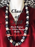 Hawaiian Kukui Nut Graduation Lei-Black with White Mongo Shells- Class of 2018
