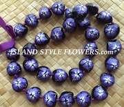 Hawaiian Kukui Nut Hibiscus Flower Necklace- Purple