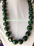 Hawaiian Kukui Nut Honu Turtle Lei Necklace-Green