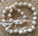 Hawaiian Kukui Nut Lei - Cream UNPOLISHED Nuts