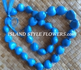 Hawaiian Kukui Nut Lei-Light Blue