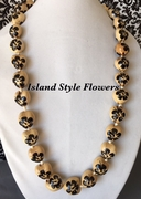 Hawaiian Kukui Nut Lei-Natural with Black Hibiscus Flowers