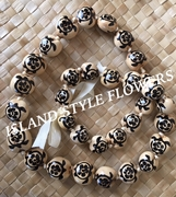 Hawaiian Kukui Nut Lei-Natural with Black Honu Turtles &  Hibiscus Flowers