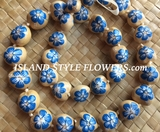 Hawaiian Kukui Nut Lei-Natural with Blue Hibiscus Flowers