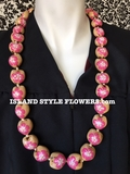 Hawaiian Kukui Nut Lei-Natural with Hot Pink Hibiscus Flowers