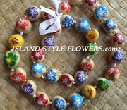 Hawaiian Kukui Nut Lei-Natural with Multicolored Hibiscus Flowers