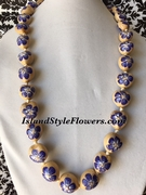 Hawaiian Kukui Nut Lei-Natural with Purple Hibiscus Flowers