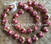 Hawaiian Kukui Nut Lei-Natural with Red Hibiscus Flowers