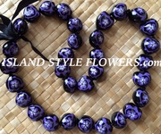 Hawaiian Kukui Nut Lei Necklace-Hand-Painted-Purple Turtle w/ Purple Hibiscus Flower
