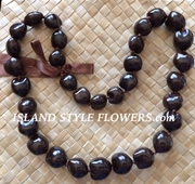 HAWAIIAN KUKUI NUT LEI NECKLACE- Brown