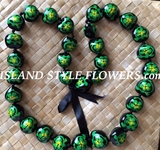 Hawaiian Kukui Nut Lei Necklace-Hand-Painted-Green Turtle w/ Green Hibiscus Flower