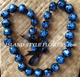 Hawaiian Kukui Nut Lei Necklace-Hand-Painted-Blue Turtle w/ Blue Hibiscus Flower