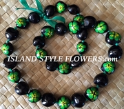 Hawaiian Kukui Nut Lei Necklace Hand Painted -Dual Color: Green Hibiscus & Solid Black