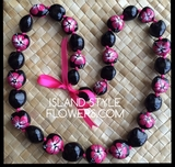 Hawaiian Kukui Nut Lei Necklace Hand Painted -Dual Color: Hot Pink Hibiscus & Solid Black