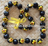 Hawaiian Kukui Nut Lei Necklace Hand Painted -Dual Color: Yellow Hibiscus & Solid Black