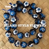 Hawaiian Kukui Nut Lei Necklace Hand-Painted Hibiscus -2 color BLUE and WHITE