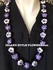 Hawaiian Kukui Nut Lei Necklace Hand-Painted Hibiscus -2 color Lavender and White