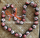 Hawaiian Kukui Nut Lei Necklace Hand-Painted Hibiscus -2 color Orange and White