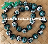Hawaiian Kukui Nut Lei Necklace Hand-Painted Hibiscus -2 color TEAL and WHITE