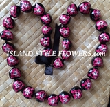 Hawaiian Kukui Nut Lei Necklace-Hand-Painted-Hot Pink Turtle w/ Hot Pink Hibiscus Flower
