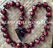 Hawaiian Kukui Nut Lei Necklace-Hand-Painted-Red Turtle w/ Red Hibiscus Flower