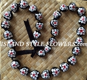 Hawaiian Kukui Nut Lei Necklace-Hand-Painted-White Turtle w/ White Hibiscus Flower