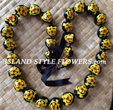 Hawaiian Kukui Nut Lei Necklace-Hand-Painted-Yellow Turtle w/ Yellow Hibiscus Flower