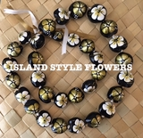 Hawaiian Kukui Nut Lei Necklace Handpainted Hibiscus -2 color GOLD and WHITE