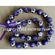 Hawaiian Kukui Nut Lei Necklace Hand-Painted Hibiscus -2 color Purple and White