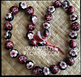 Hawaiian Kukui Nut Lei Necklace Handpainted Hibiscus -2 color Red and White