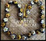 Hawaiian Kukui Nut Lei Necklace Handpainted Hibiscus -2 color Yellow and White