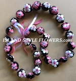 Hawaiian Kukui Nut Lei Necklace Handpainted Hibiscus -2 color Pink and White
