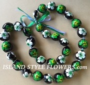Hawaiian Kukui Nut Lei Necklace Handpainted Hibiscus -2 color Green and White