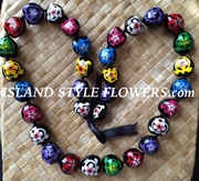 Hawaiian Kukui Nut Lei Necklace-Hand-Painted-Multicolored Turtles w/ Multicolored Hibiscus Flowers