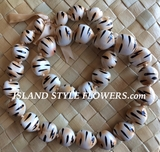 HAWAIIAN KUKUI NUT LEI NECKLACE- Tiger/Cheetah Print