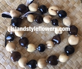 HAWAIIAN KUKUI NUT  LEI NECKLACE- Tri Color