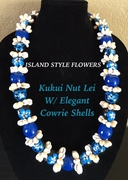 Hawaiian Kukui Nut Lei Necklace with Cowrie Shells-Blue