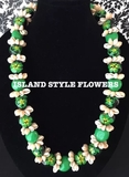 Hawaiian Kukui Nut Lei Necklace with Cowrie Shells-Green
