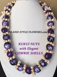 Hawaiian Kukui Nut Lei Necklace with Cowrie Shells-Purple