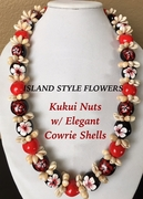 Hawaiian Kukui Nut Lei Necklace with Cowrie Shells-Red